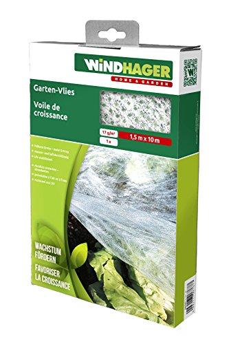 Windhager Gartenvlies Gartenfolie Abdeckvlies Wachstums-Vlies, steigert den Ernte-Ertrag, Weiß, 10 x 1,5 m, 17 g/m², 06767