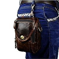 Le'aokuu Mens Vintage Fanny Small Messenger Shoulder Satchel Genuine Leather Belt Waist Bag Pack (Coffee)
