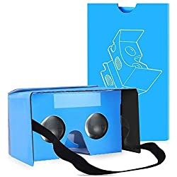QPAU Google Cartón Gafas 3D Realidad Virtual VR Compatible con Android iPhone Google Teléfono