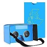 QPAU Google Cardboard 3D Realtà Virtuale Kit Occhiali fai da te compatibile con Android e di Apple 45mm Lenti HD Visual Experience include i codici QR - Blu