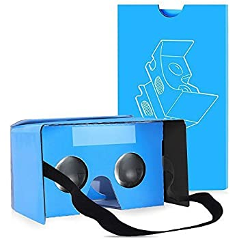 QPAU Google Cardboard 3D Realtà Virtuale Kit Occhiali fai da te compatibile con Android e di Apple 45mm Lenti HD Visual Experience include i codici QR - Blu