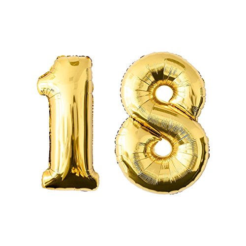TOYMYTOY Folie Ballons / Helium Nummer Ballon Golden Zahl 18 für Party Festival Dekorationen
