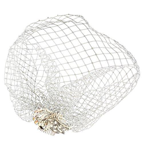 sharplace Fascinator LADY weiß Birdcage Netz Rouge Schleier Haarkamm Hochzeit Brautschmuck (Rouge Schleier)