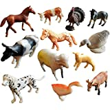 Amitasha Domestic Farm Animals Toys for Kids (Set of 12)