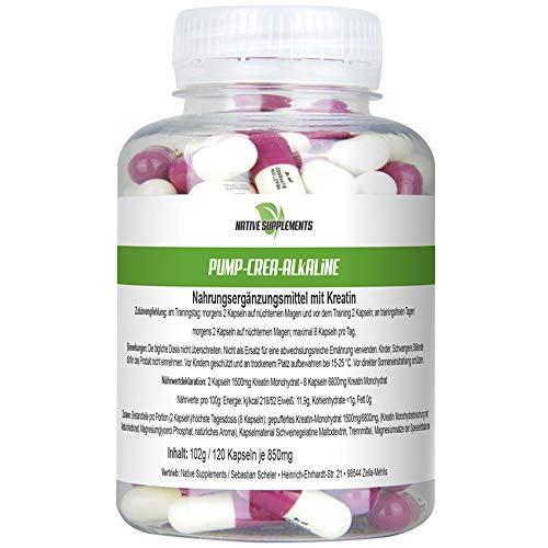 Pump Crea-Alakline, 120 Kapseln pro Dose, Hochdosiert 6800mg / Tagesdosis, gepuffertes Kreatin, Hardcore Energy, Muskelaufbau Nahrungsergänzungsmittel