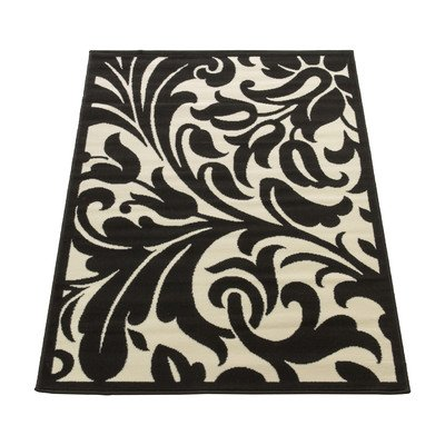 Flair Rugs Element Warwick Damask Rug, Black/Ivory, 180 x 250 Cm