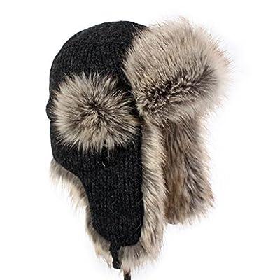 LETHMIK Gorras de Mujer y Hombre Sombreros de invierno Faux Fur Trapper gorro aviador unisex de caza bombardero caliente black