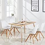Designetsamaison Table à manger rectangulaire scandinave bois 120cm - Best Reviews Guide