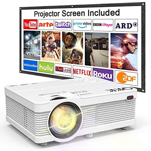 Proyector QKK, Proyector Mini con Pantalla de Proyección, Proyector Lumen 3800 de Video Soporta 1080P Full HD, Compatible con los TV Stick PS4 HDMI VGA SD AV y USB, Proyector Teatro en Casa, Blanco.