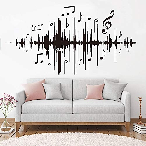 Ajcwhml Musik Audio Notizen Wandtattoos Musik Frequenz Wandaufkleber Vinyl Schlafzimmer Kinderzimmer Kinderzimmer Wohnzimmer Dekoration 79cm x 42cm -