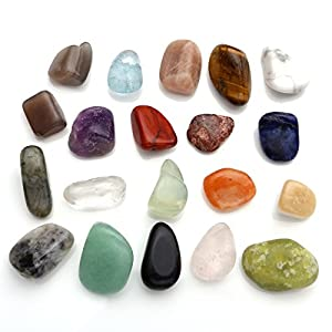 JOVIVI Naturstein Set Heilstein Chakra-Set 20x verschieden Edelsteine Trommelsteine Set Formlos Natural Gemstones