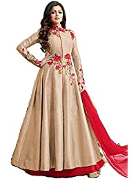 SKYBLUE FASHION Women's Silk Dress Material (AB2412_Free Size_Beige)