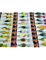 Avec la plume! 30 piece Paquet Pêche Spinner cuillère assorties leurres de pêche