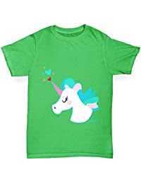 TWISTED ENVY Unicorn Horn hearts Girl's Funny Cotton T-Shirt, Comfortable and Soft Classic Tee With Unique Design
