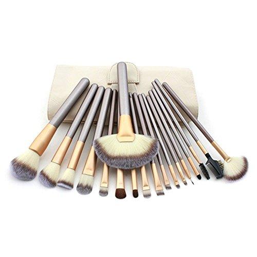Ensemble De 18 Maquillage Pinceaux - Poils Synthétiques, Virole En Aluminium, Poignée En Bois, crème Étui En Cuir by DELIAWINTERFEL