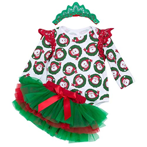 Bebé Conjunto de Trajes 3 Piezas Navidad Body de Manga Larga Tutú Vestido con Venda con Venda Trajes 6-12 Meses