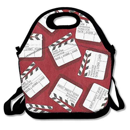 Lights Camera Action Clap Board Lunch Bag Lunch Tote Lunchbox Handbag Reusable for Adult,Kids,Insulated,Stretchy,Reusable,Washable,Zipper,School Work Office Camping Travel (Board Tote)