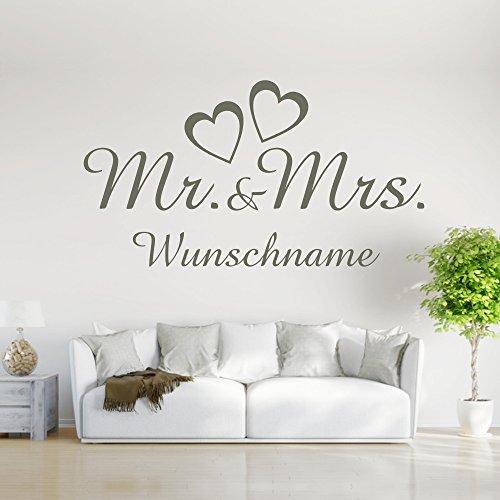 eDesign24 Wandtattoo Mr and Mrs Wunschname Herr und Frau Liebe Ehepaar Hochzeit Name Wanddekoration Wanddesign ca. 60 x 33 cm weiß
