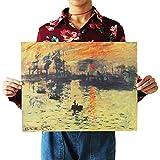 Monet Sunrise Vintage Retro Cartel de papel Kraft Interior Bar Cafe Decoración Pintura51X36cm