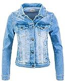 Rock Creek Damen Jeans Jacke Übergangs Jacke Denim Blouson Stretch Kurz Classic Jeansjacken Urban Stonewash D-401 Hellblau XXL