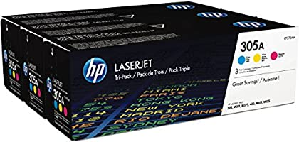 HP 305A 3er-Pack (CF370AM) Blau/Rot/Gelb Original Toner für HP Laserjet Pro M351, M375nw, M451, M475