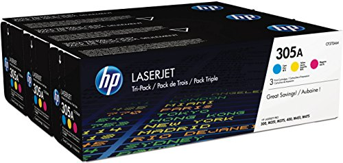 HP 305A 3-pack Cyan/Magenta/Yellow Original LaserJet Toner Cartridges (CF370AM)