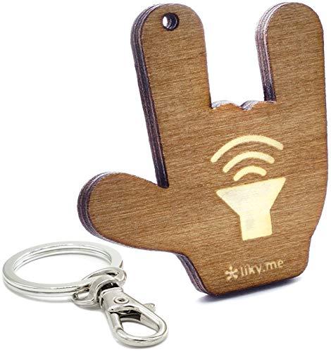 LIKY® Rock llavero original de madera grabado regalo para día del padre mujer hombre cumpleaños pasatiempo colgante bolso mochila