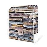 BANJADO Design Briefkasten weiß | 38x47x13cm groß mit Zeitungsfach | Stahl pulverbeschichtet | Wandbriefkasten mit Motiv Naturstein | Briefkasten mit silbernem Standfuß
