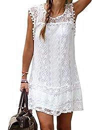 vestido sin mangas ocasional de las mujeres de senora White Lace mini vestido de verano