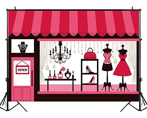 EdCott 9x6ft Rosa Kleidung Juwelier Kulisse für Mädchen Baby Shower 1. Erste Geburtstagsfeier Süßigkeiten Tabelle Banner Süße Dekorationen Photo Booth Persönliches Porträt Fotostudio Requisiten