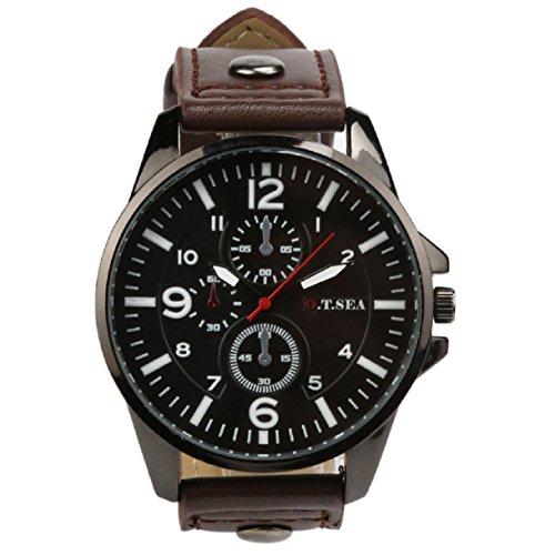 Herren Uhren, OverDose 2016 Männer Sport-Quarz-Uhren Herrenuhren Luxus-Leder-Armbanduhren (Kaffee) (Männer Nike Für Sport-uhren)