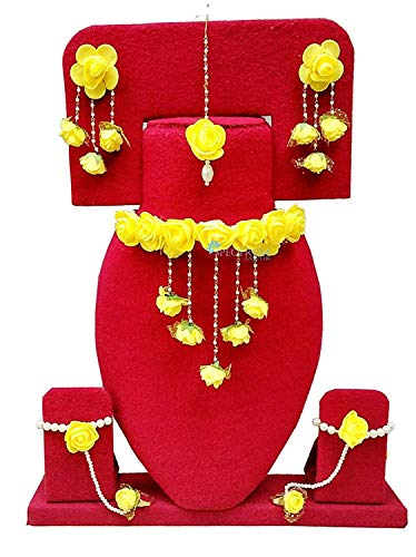 Apara Yellow Floral Gota Patti Zmehandi/Haldi Necklace, Earrings, Bracelet & Maang Tika for Women & Girls