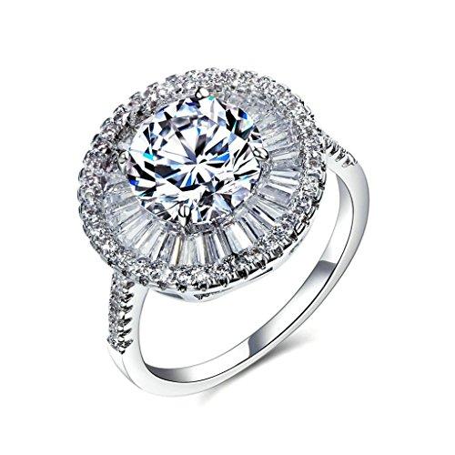 Epinki Edelstahl Damen Ringe Verlobungsringe Halo Ring Rund mit Cubic Zirkonia Weiß Braut Set Gr.60 (19.1) Breit (Halo Elite Kostüm)