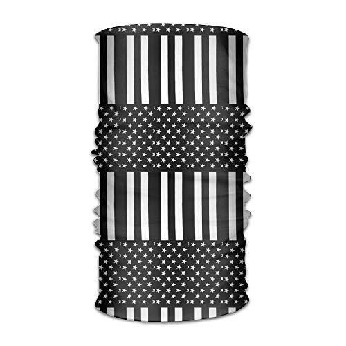 Ncutakuzvmr Unisex Black and White Stripes Usa Flag Multifunctional Bandanas Sweatband Elastic Turban Headwear Headscarf Beanie Kerchief White Stripe Beanie