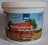 PNZ Zaunlasur mit UV-Schutz für Aussen, hochwertige Lasur v. Fachhandel, Farbton Eiche / 5 Liter