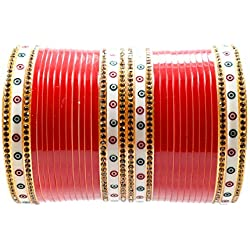 Balaji Collection Red Brass Bridal Punjabi Chuda/Chura for Women and Girls (2.6)