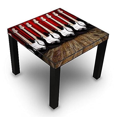 banjado - Beistelltisch Design Tisch 55x45x55cm Wohnzimmertisch schwarz mit Motiv E-Gitarren