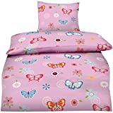 Aminata Kids - Kinder-Bettwäsche-Set 135-x-200 cm Schmetterling-e-Motiv Fee-n Wand-deko Wand-Tattoo Blume-n | 100-% Baumwolle Renforce | Reißverschluss | rosa pink | Teenager Jugendlich-e
