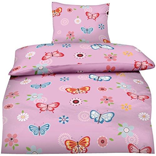 Aminata - Kinderbettwäsche 135x200 Schmetterlinge Mädchen rosa Bettwäsche Kinder Schmetterling Teenager Jugendliche pink