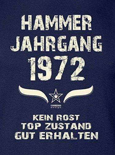 Geschenk Set : Geschenkidee 45. Geburtstag ::: Hammer Jahrgang 1972 ::: Herren T-Shirt & Urkunde Geburtstagskind des Jahres für Ihren Papa Vater ::: Farbe: schwarz Navy-Blau