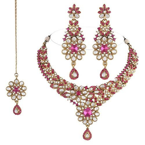 I Jewels Traditional Gold Plated Kundan Necklace Set with maang tikka for...