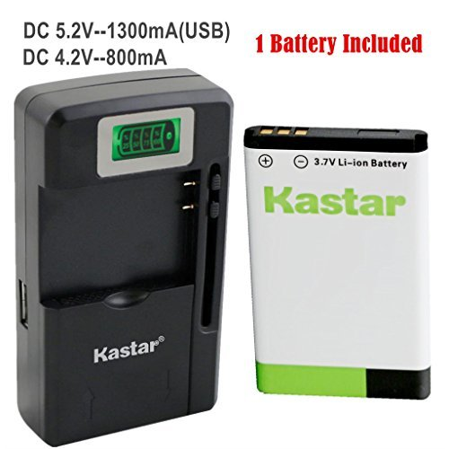 Kastar BL-5C Battery (1-Pack) and intelligent mini travel Charger ( with high speed portable USB charge function) for NOKIA 1100 2112 2270 2280 2285 2300 2600 2850 3100 3105 3120 3600 3620 3650 3660 5140 6108 6280 5030 5130 6030 6085 6086 6230 6230i 6267 6270 6555 6600 6630 6670 6680 6681 6820 6822 7600 7610 E50 E60 N70 N70 MusicEdition N71 N72 N91 N91 8GB N-Gage XpressMusic Degen and Meloson Port  available at amazon for Rs.3149