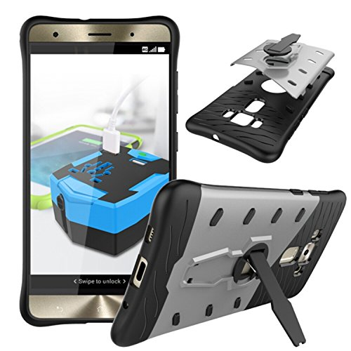 YHUISEN Hybrid Tough Rugged Dual Layer Rüstung Schild Schützende Shockproof mit 360 Grad Einstellung Kickstand Case Cover für ASUS ZenFone 3 Deluxe ZS570KL ( Color : Black ) Silver