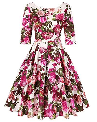 MINTLIMIT Damen 1950s Halloween Retro Kleider A-Linie Kurze Ärmels Cocktail Schwingen Party Vintage Kleider (Floral Fuchsie,Größe XXL)