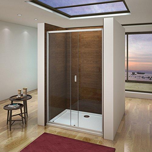 100 x 185 cm Nischentür Duschtür Schiebetür Duschabtrennung Duschwand aus 6mm ESG Sicherheitsglas Klarglas ohne Duschtasse - 2