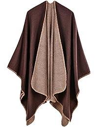 Poncho para Mujer Cardigan de Punto Capa con Bloques de Colores para Mujer Easy Cover Up