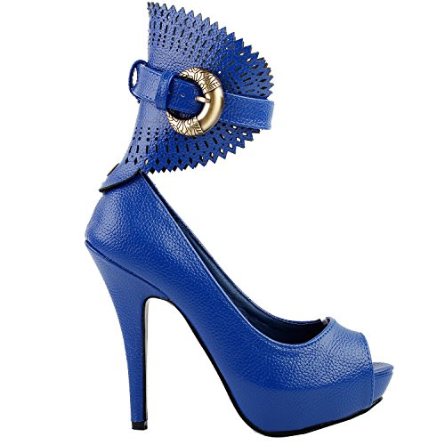 Visualizza Story Multicolore Motivo floreale / Animal Gladiator Platform Pumps, LF30402 Blu medio