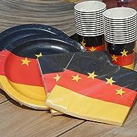 EinsSein 88 tlg. Pappgeschirr Party Set Fußball Deutschland 26x Pappteller 26x Pappbecher 36x Papier Servietten Fahne Flaage Papiergeschirr Einwegeschirr
