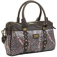 LOIS - 27331 Bolso de mujer bowling bandolera ajustable doble asa con cremallera. Forro estampado y bolsillo interior. Dos bolsillos delante con cremallera.