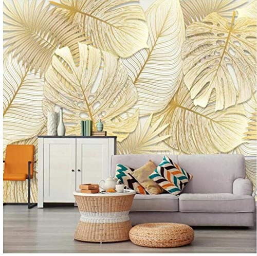 YFXGSTLI Fototapete Moderne Tapete 3D Foto Mural Reich Elegant Tropischer Regen Wald Goldene Bananenblatt Tapete Rolle Für Schlafzimmer Benutzerdefinierte Größe